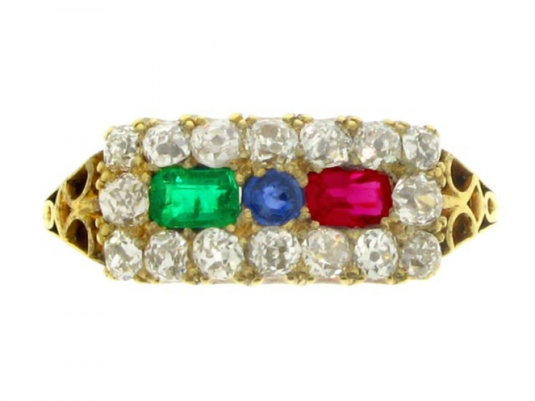 front view Antique ruby, emerald, sapphire and diamond cluster ring, circa 1900.