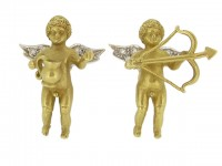 front view Pair of diamond set cherub cufflinks, circa 1960.