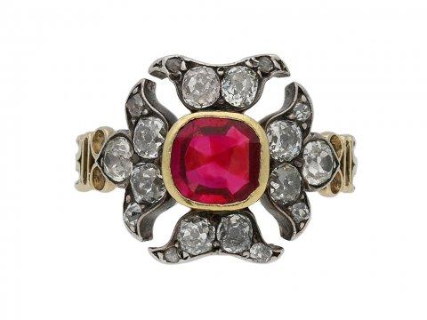 Georgian antique ruby diamond ring berganza hatton garden