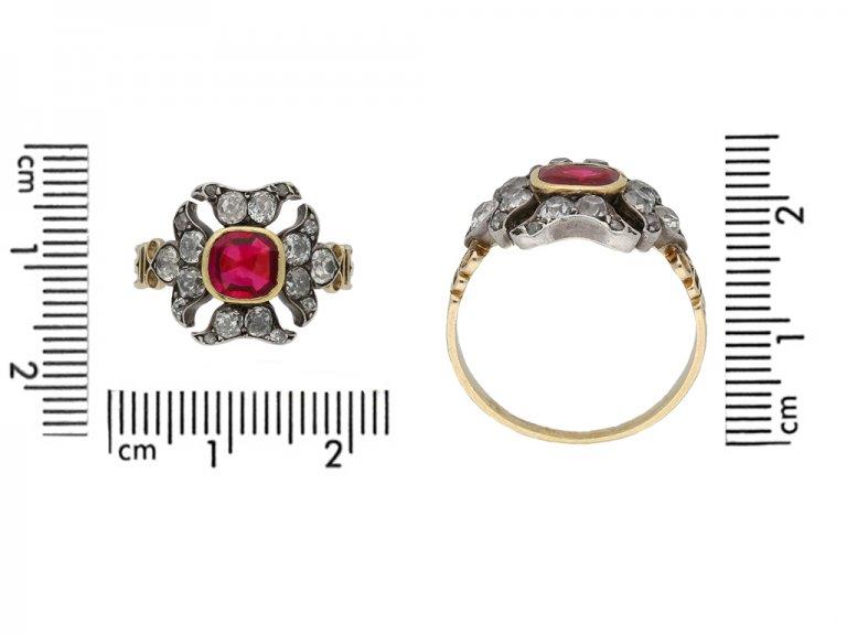 front view Georgian antique ruby diamond ring berganza hatton garden