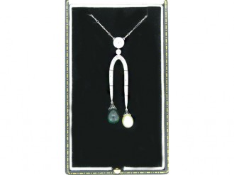front view Emerald, pearl and diamond necklace