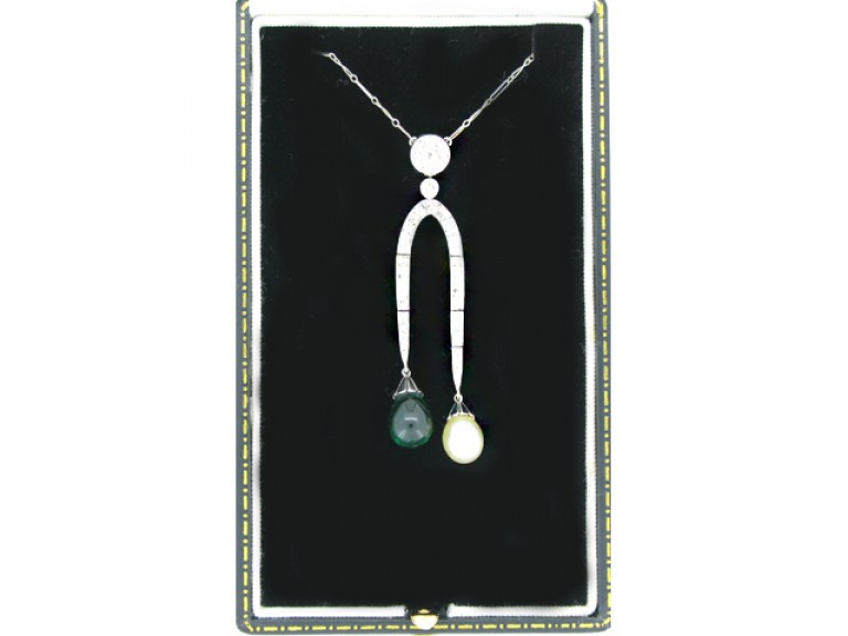 boxed veiw Emerald, pearl and diamond necklace