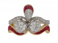 front view Diamond and ruby ring, circa 1905.