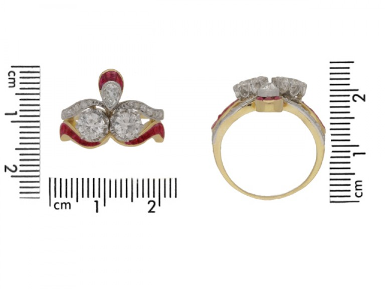 size view Diamond and ruby ring, circa 1905.