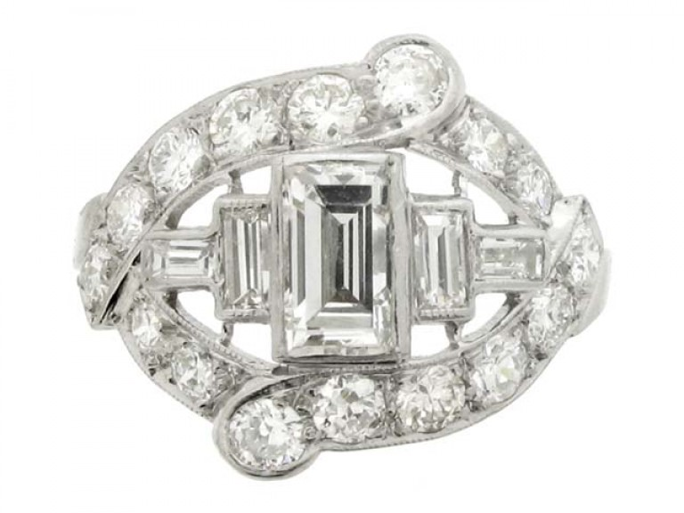 front view Baguette and round diamond cluster ring, American, circa 1950.