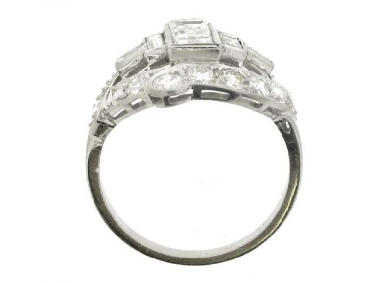 back view Baguette and round diamond cluster ring, American, circa 1950.