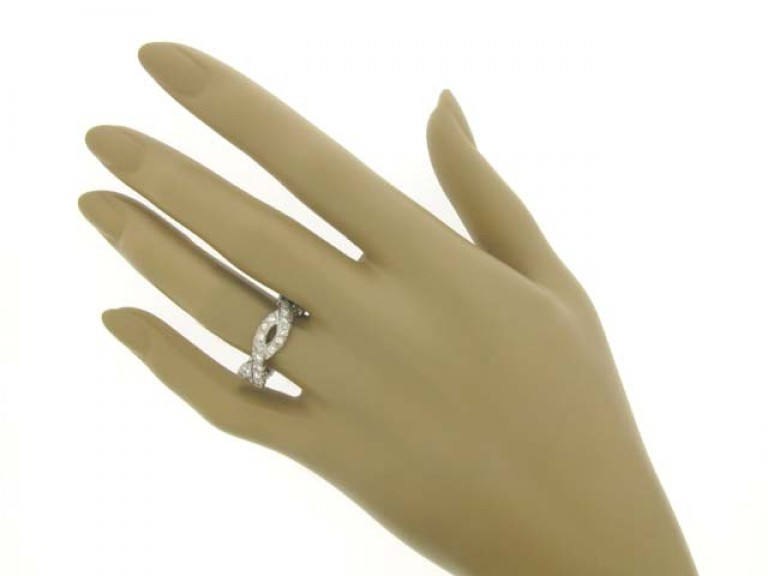 hand view Diamond set band ring, circa 1960.