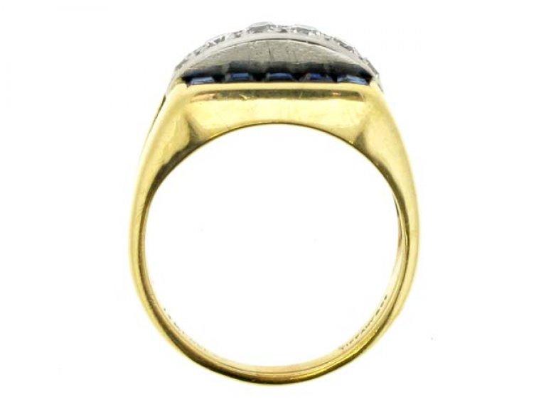 back view Tiffany & Co. sapphire and diamond ring, American, circa 1940.