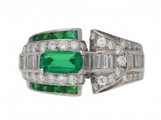 vintage Emerald diamond cocktail ring berganza hatton garden