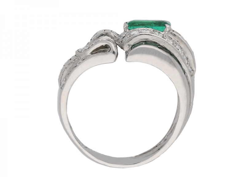 vintage Emerald diamond cocktail ring berganza hatton garden