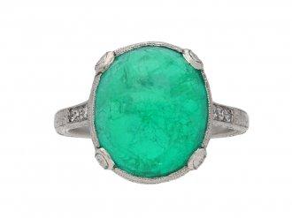 Colombian emerald cabochon diamond ring berganza hatton garden