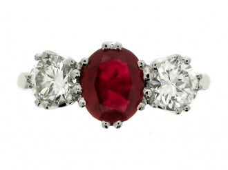 front view Ruby and diamond three stone ring, English, circa 1950.