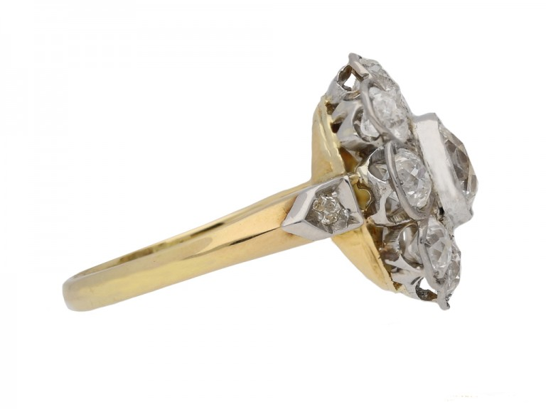 front antique diamond cluster ring berganza hatton garden