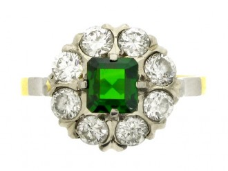 front view Green tourmaline and diamond coronet cluster ring, Russian, circa 1960.