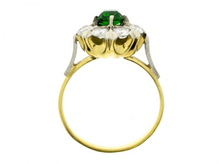 back view Green tourmaline and diamond coronet cluster ring, Russian, circa 1960.