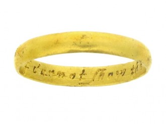 Gold posy ring, 'I cannot show the loue I owe', 17th century.