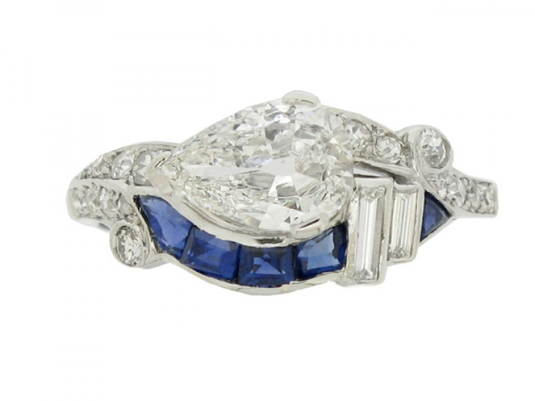 front view Art Deco diamond and sapphire ring, American, circa 1935.