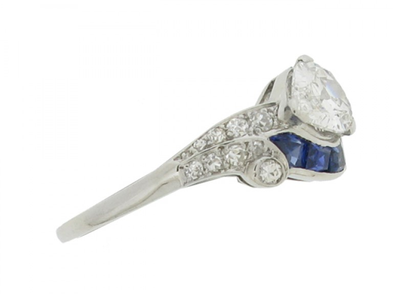 side view Art Deco diamond and sapphire ring, American, circa 1935.
