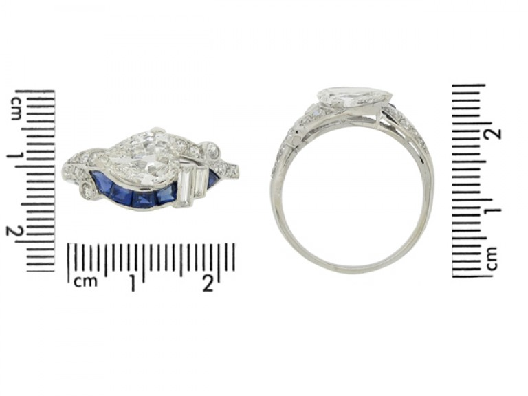 size view Art Deco diamond and sapphire ring, American, circa 1935.
