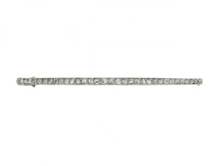 front view Cartier rose cut diamond bar brooch, French, circa 1920.