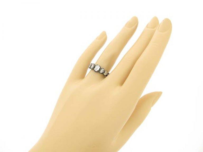 hand view Georgian seven stone diamond ring, circa 1770.