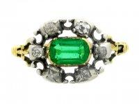 front view Georgian emerald and diamond ring, English, circa 1830.