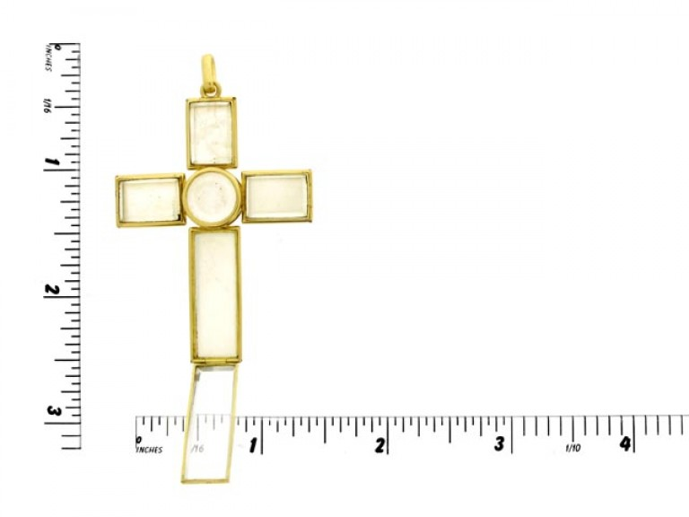 size view Rock crystal and gold cross, circa 1890.