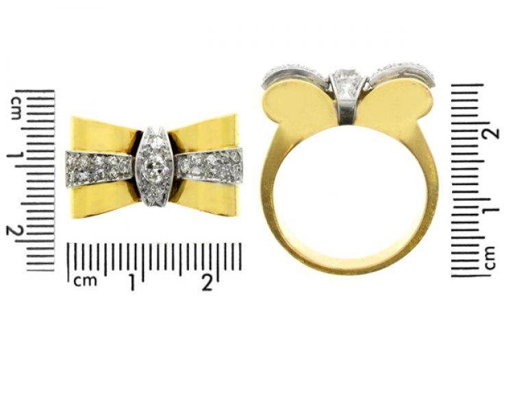 Diamond Bow cocktail ring, circa 1940.