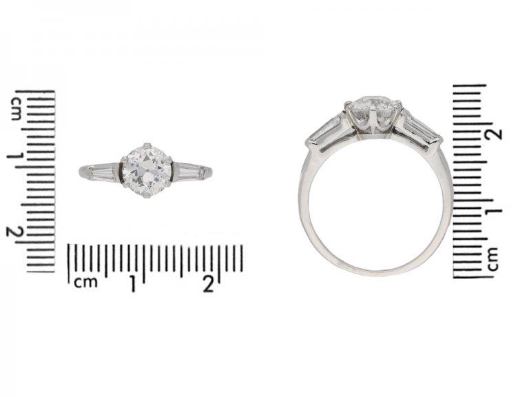 Vintage flanked solitaire diamond ring berganza hatton garden