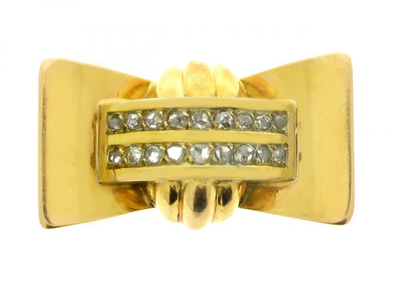front view Rose cut diamond cocktail ring, French, circa 1945.