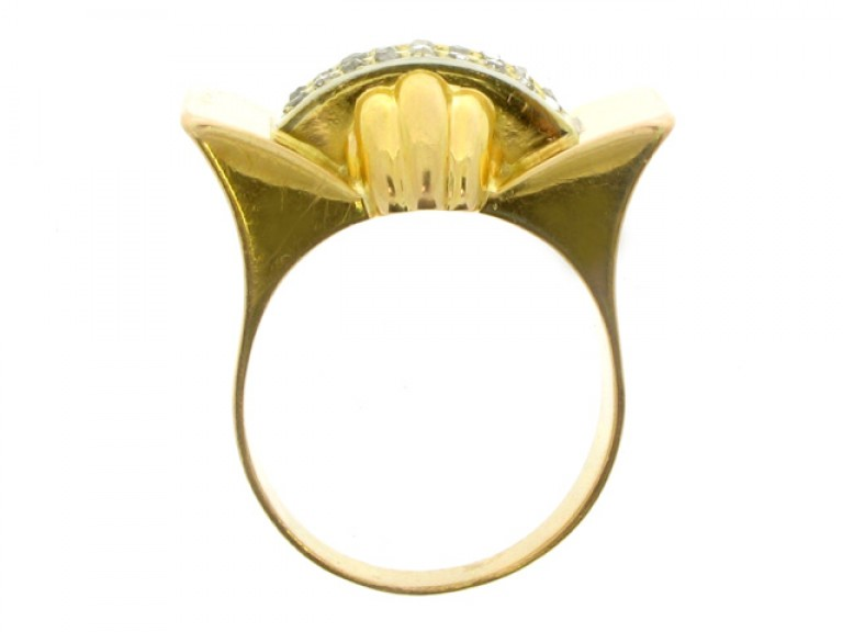 back view Rose cut diamond cocktail ring, French, circa 1945.