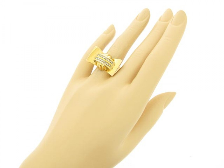 hand view Rose cut diamond cocktail ring, French, circa 1945.