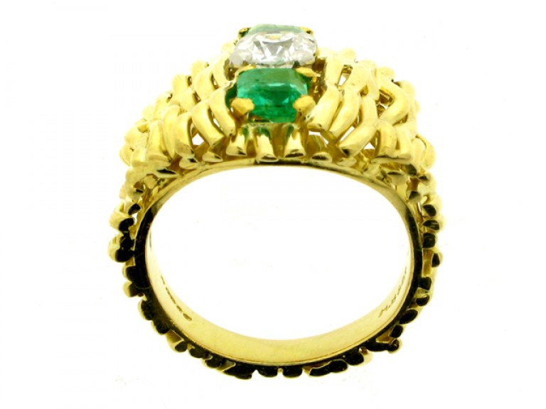 back view Emerald and diamond dress ring, English, circa 1978.
