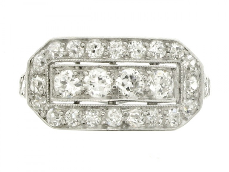 front view Kohn diamond cluster ring, American, circa 1915.