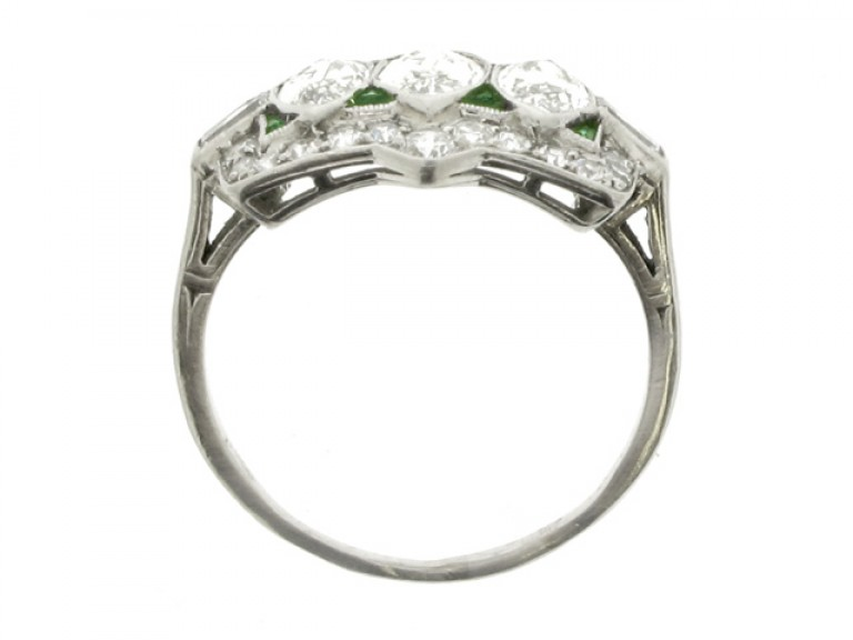 back view Marquise cut diamond and emerald diamond ring, circa 1920.