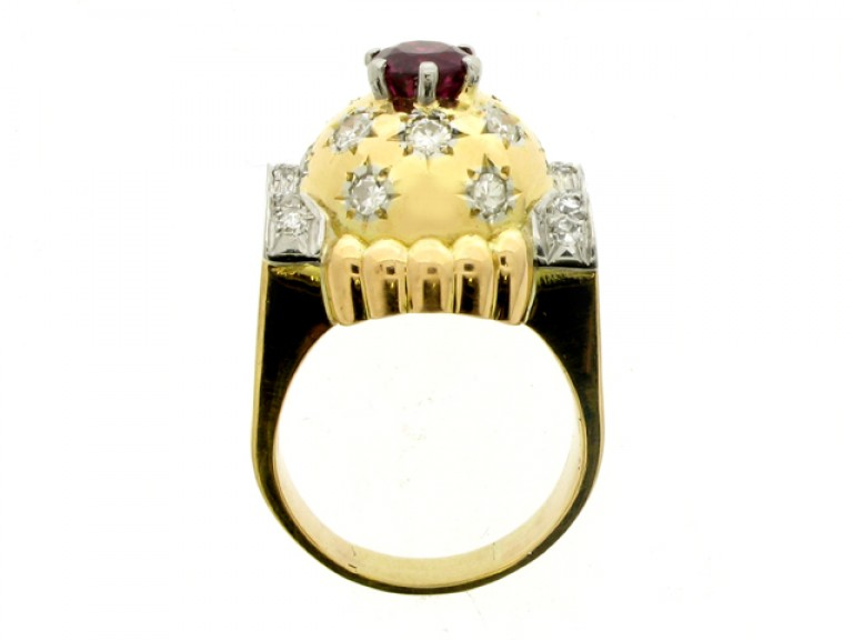 back view Ruby and diamond cocktail ring, circa 1945.