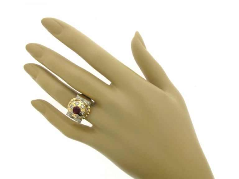 hand view Ruby and diamond cocktail ring, circa 1945.
