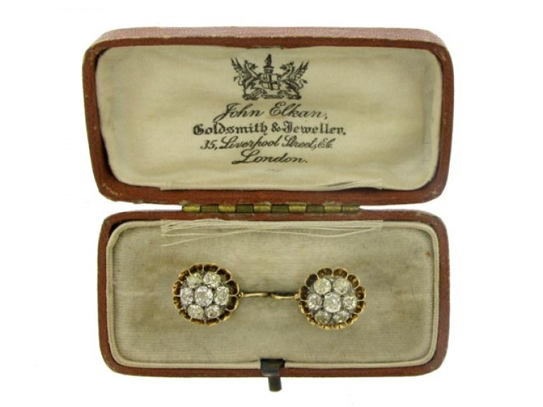 boxed view Antique diamond cluster earrings, circa 1870.