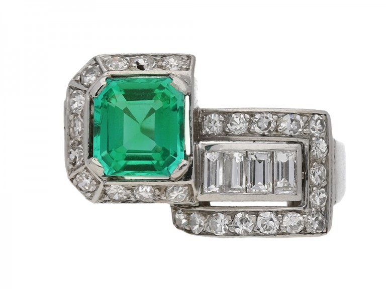art deco emerald diamond ring berganza hatton garden