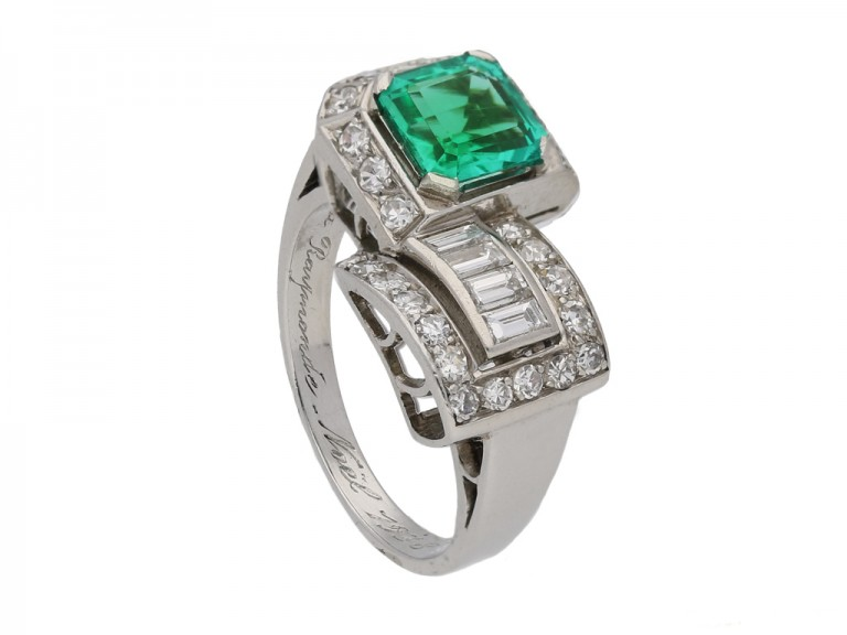 side view art deco emerald diamond ring berganza hatton garden