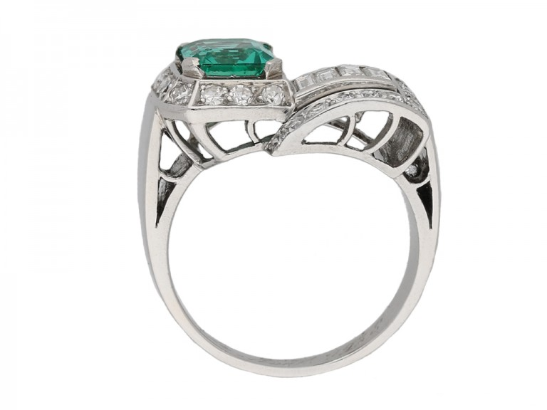 back view art deco emerald diamond ring berganza hatton garden