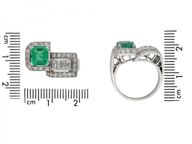 size view art deco emerald diamond ring berganza hatton garden