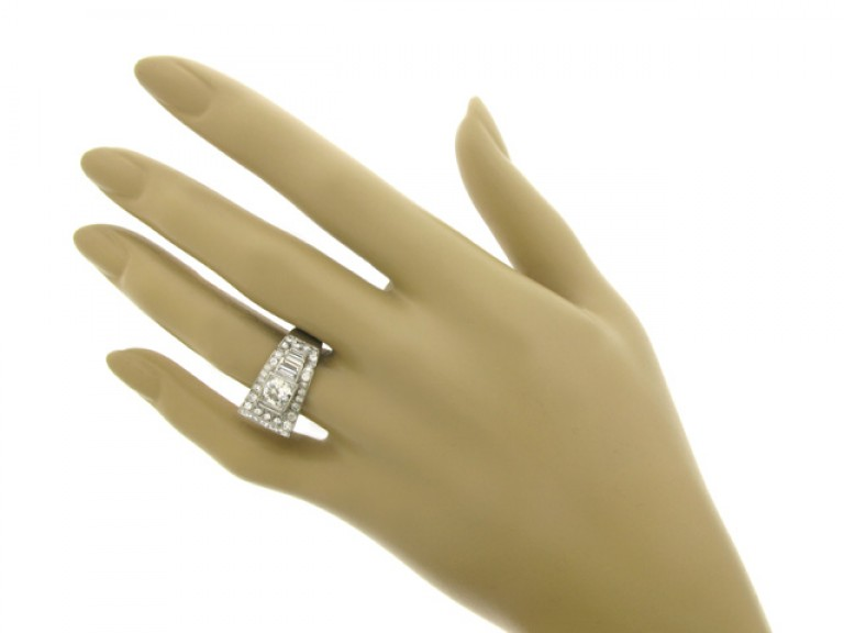 hand view Art Deco diamond ring, French, circa 1935.
