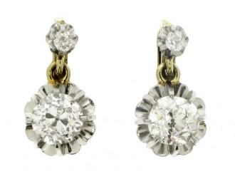 front view Diamond earrings, French, circa 1920.