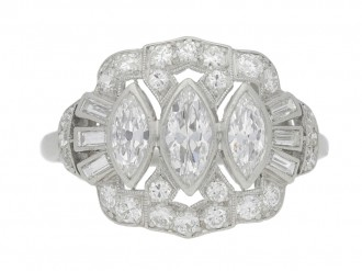 front view Marquise, baguette and round diamond cluster ring, circa 1950.