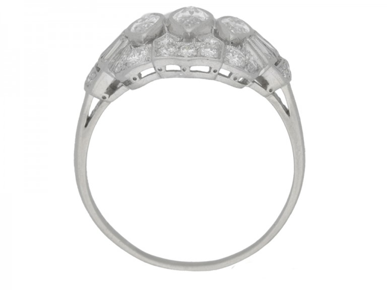 back view Marquise, baguette and round diamond cluster ring, circa 1950.