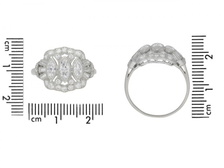 size view Marquise, baguette and round diamond cluster ring, circa 1950.