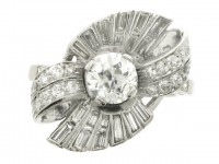 front view Diamond cocktail ring, American, circa 1940.