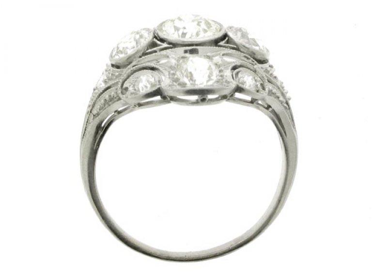back view Ornate diamond cluster ring, circa 1920.