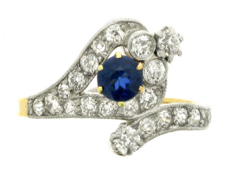 front view Antique sapphire and diamond snake ring, circa 1905.